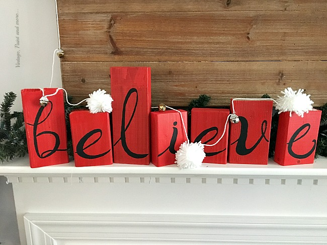 Vintage, Paint and more... Creating a rustic farmhouse Christmas mantel using a diy 2x4 BELIEVE sign and a diy pom-pom garland
