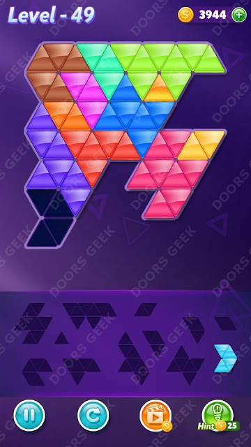 Block! Triangle Puzzle 12 Mania Level 49 Solution, Cheats, Walkthrough for Android, iPhone, iPad and iPod