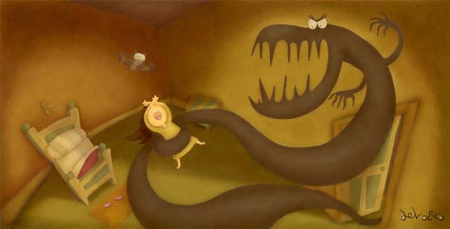 """""""ilustración-la habitación del miedo-ana sáez del arco-the room of fear"""""""