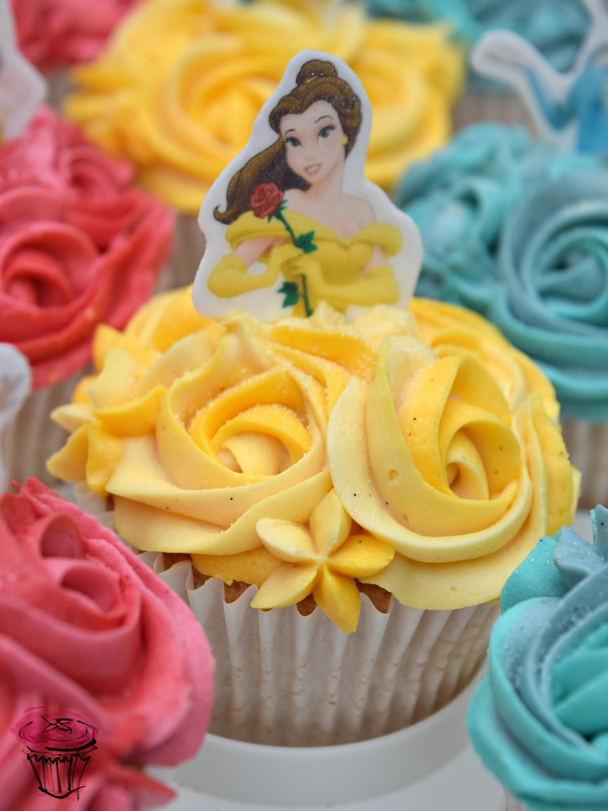 Belle Beauty and the Beast Disney Cupcake with Yellow Dress