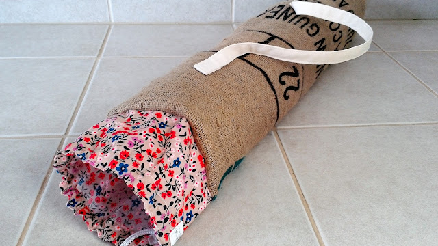 Burlap Coffee Bean Sack Yoga Mat Bag Floral by Lina and Vi Plymouth MI