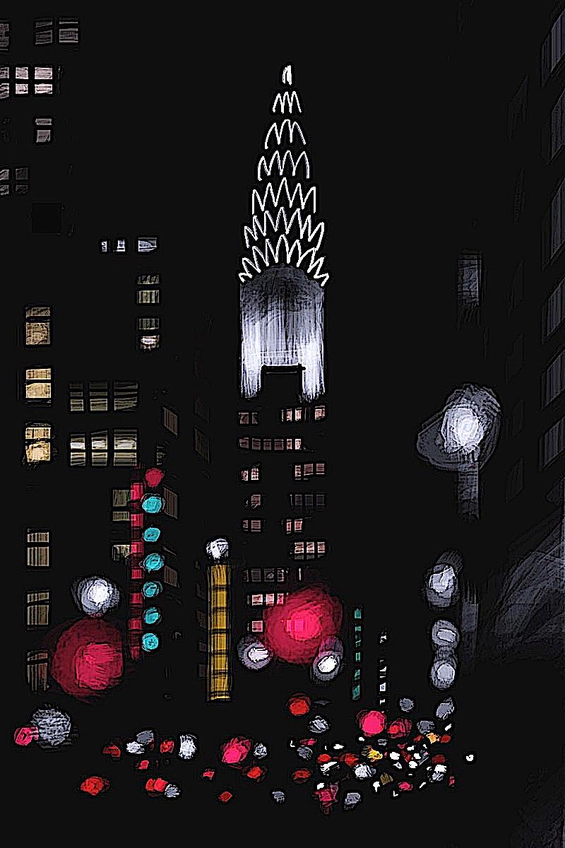 Jorge Colombo art, big city lights