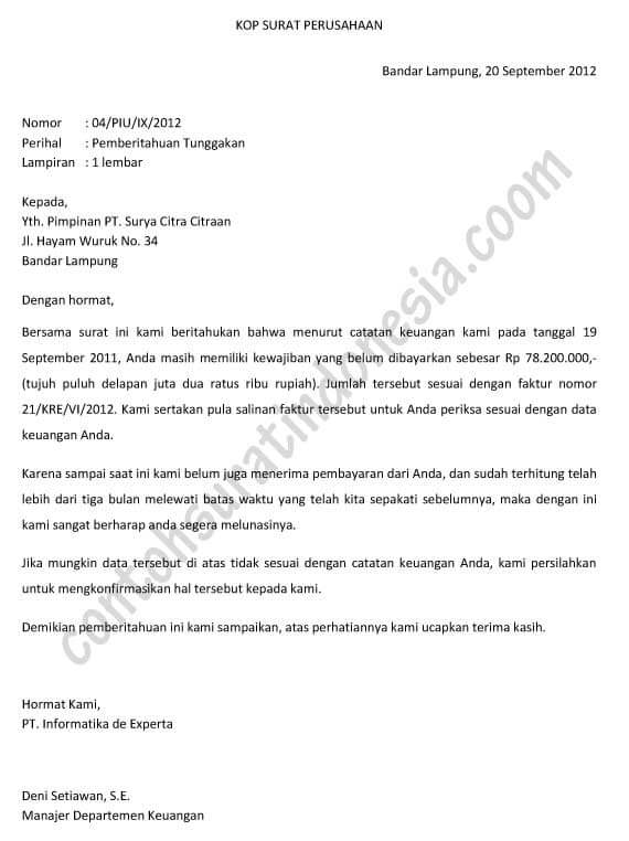 Contoh Surat Penagihan Invoice
