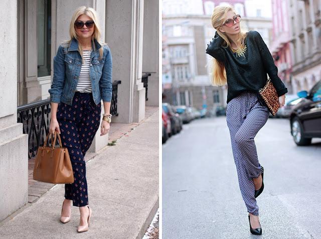Пижамные брюки с тельняшкой и блузкой и обувью на каблуке