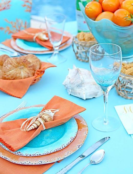 Orange Blue Coastal Beach Tabletop Decor Idea Summer Party