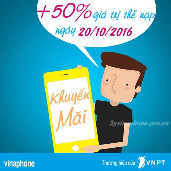 Khuyến mãi 50% giá trị thẻ nạp Vinaphone ngày 20/10/2016