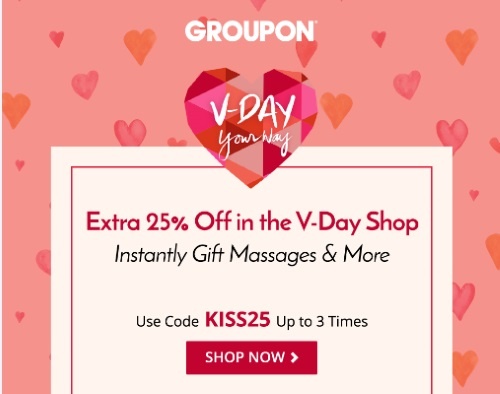 Groupon Valentine's Day 25% Off V-Day Shop Promo Code