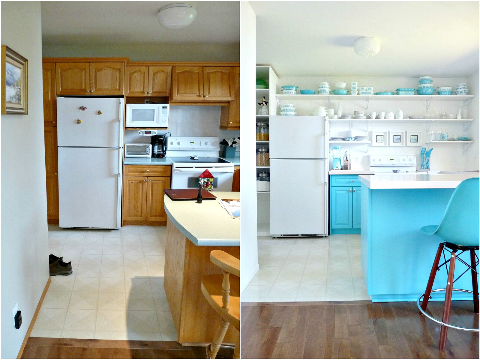 a bud friendly turquoise kitchen makeover dans le lakehouse