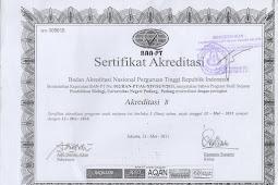 Sertifikat Akreditasi Program Studi Pendidikan Biologi UNP (2011-2016)