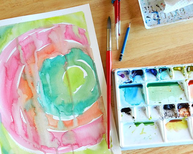 How to paint an abstract watercolor