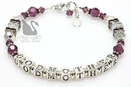 Purple Amethyst Crystal Godmother Bracelet (B200-GM)
