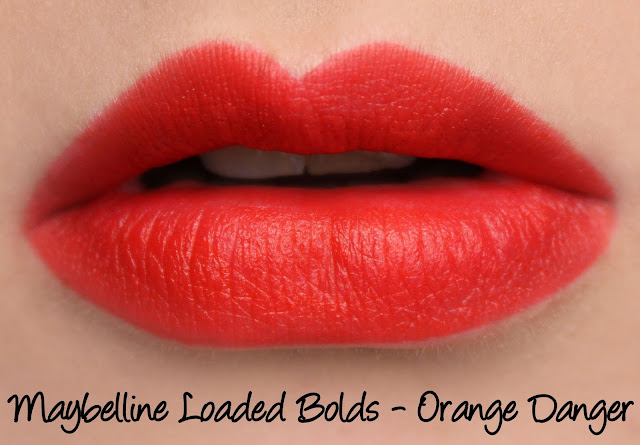 Maybelline Loaded Bolds Lipstick - Orange Danger Swatches & Review