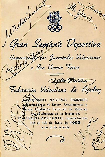 Folleto del IV Campeonato de España de Ajedrez Femenino Valencia 1955 con la firma de las participantes