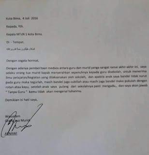 Wali Murid Ini Tulis Surat dan Izinkan Pukul Anaknya Pakai Rotan Jika Bandel