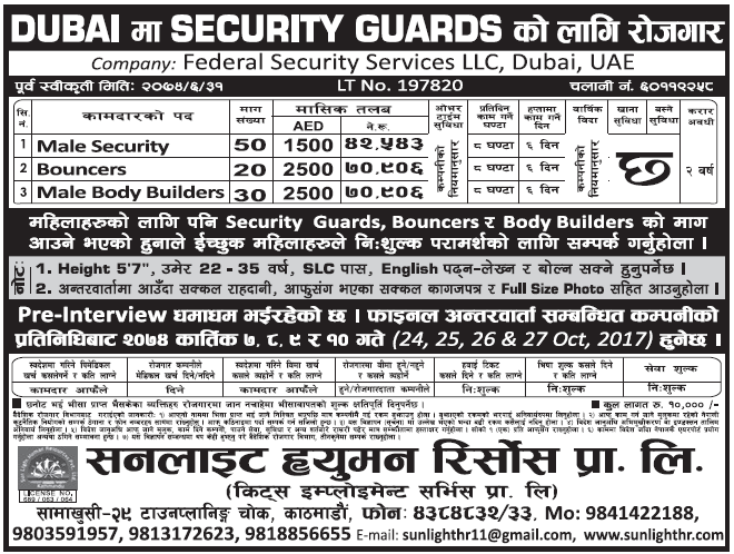 Jobs in Dubai for Nepali, Salary Rs 70,906