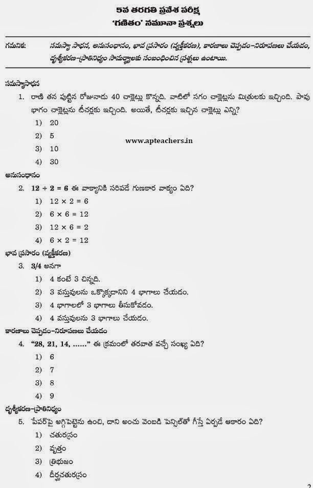 APRS 5th Class Entrance-Syllabus, Exam Pattern, Model Question Paper