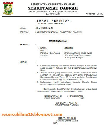 Contoh Surat Perintah Tugas yang Mengetahui Bupati