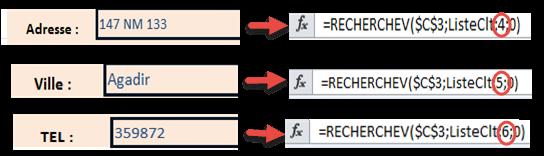 نسخ الدالة RechercheV في باقي الخلايا