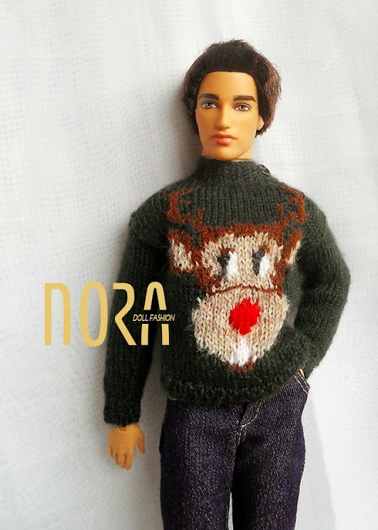 Mark Darcy Xmas sweater for Barbie's friend and 1/6 scale doll