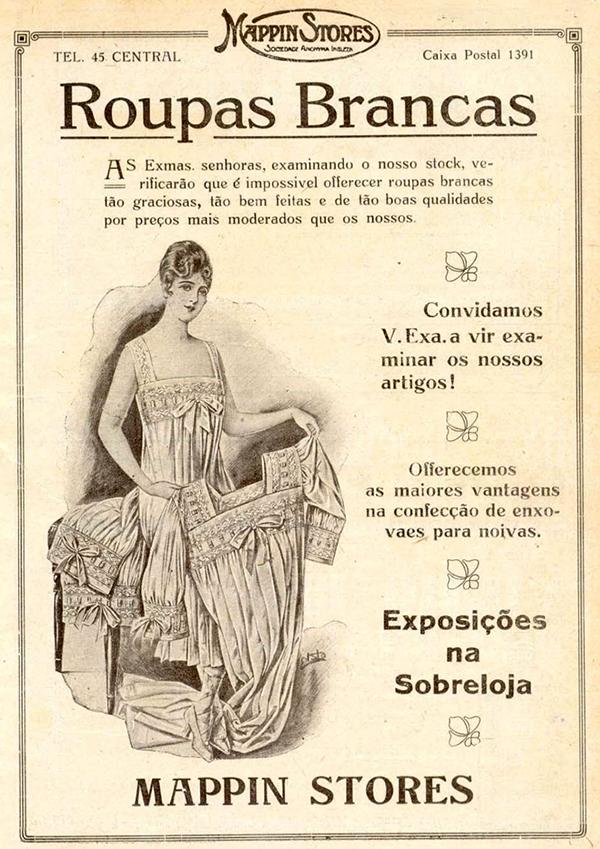 Propaganda do Mappin promovendo coleção de roupas brancas no começo dos anos 20