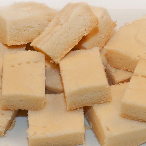 Squares of soft buttery Scottish shortbread.