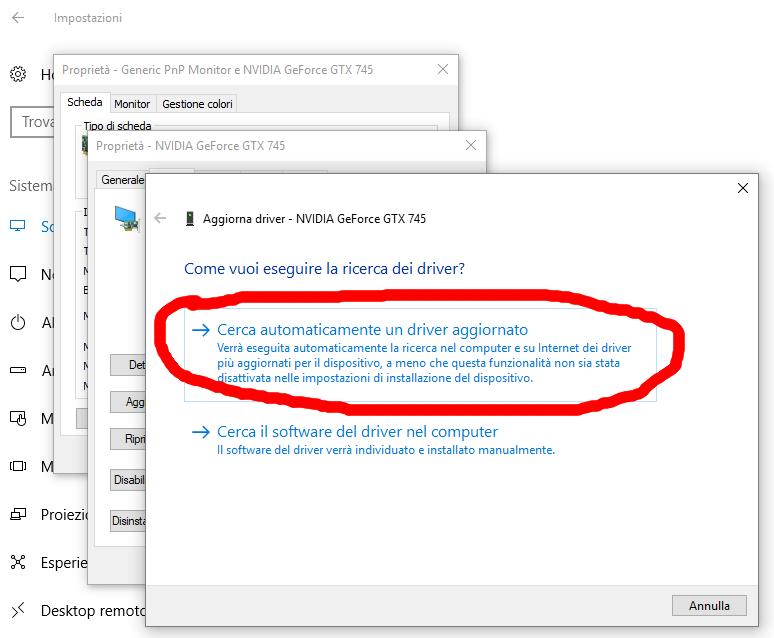 Ricerca automatica dell'aggiornamento dei drivers grafici sul pc