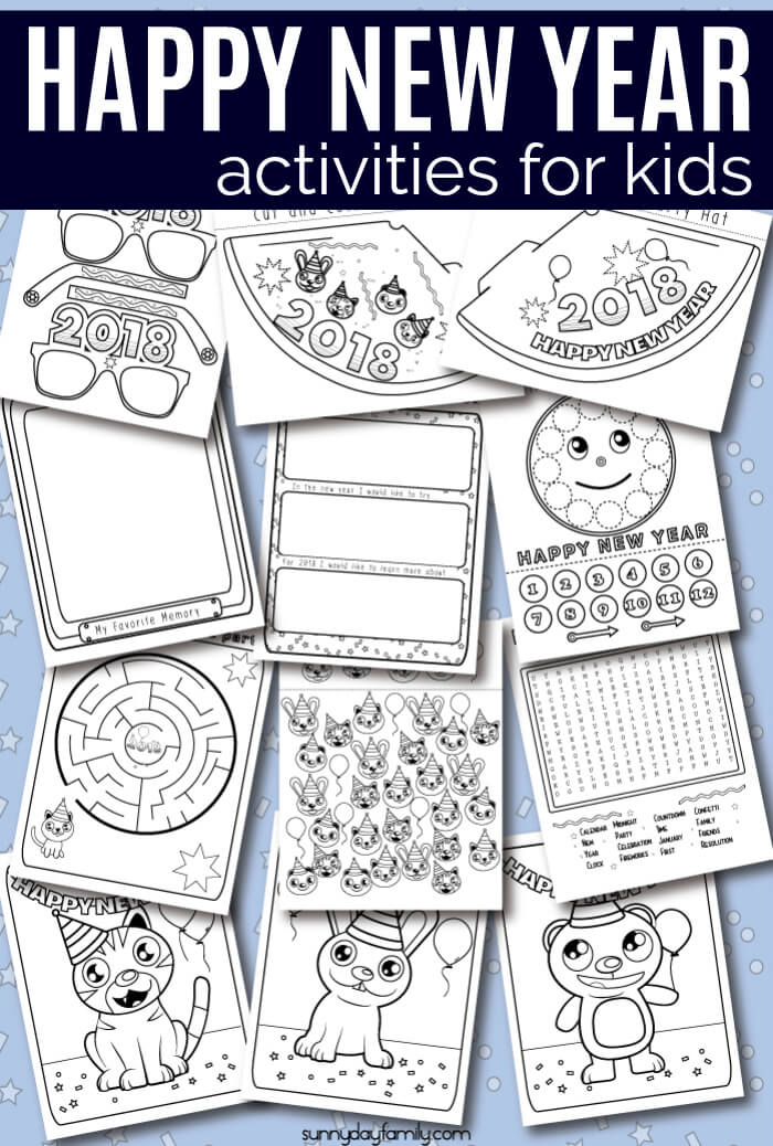 HUGE free New Year's activity pack for kids! 12 total New Years coloring pages for kids with fun New Year party printables, New Year learning activities, a kids countdown clock and more. Help kids celebrate New Year's Eve with this fun free printable pack - perfect for a New Years party! #newyearseve #newyears #kidsactivities