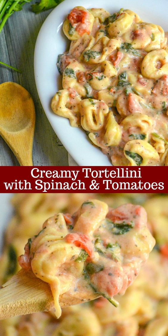 CREAMY TORTELLINI WITH SPINACH & TOMATOES #creamy #tortellini #spinach #tomatoes #vegetarian #vegetarianrecipes #veggies #veganrecipes