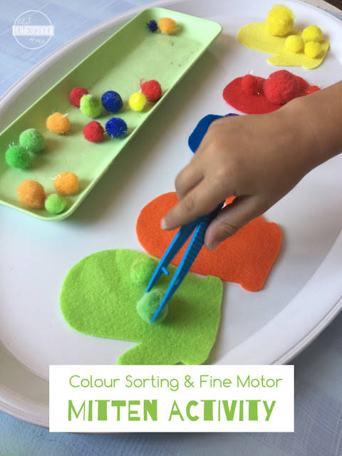 Color Sorting Fine Motor Mitten Match for Preschoolers