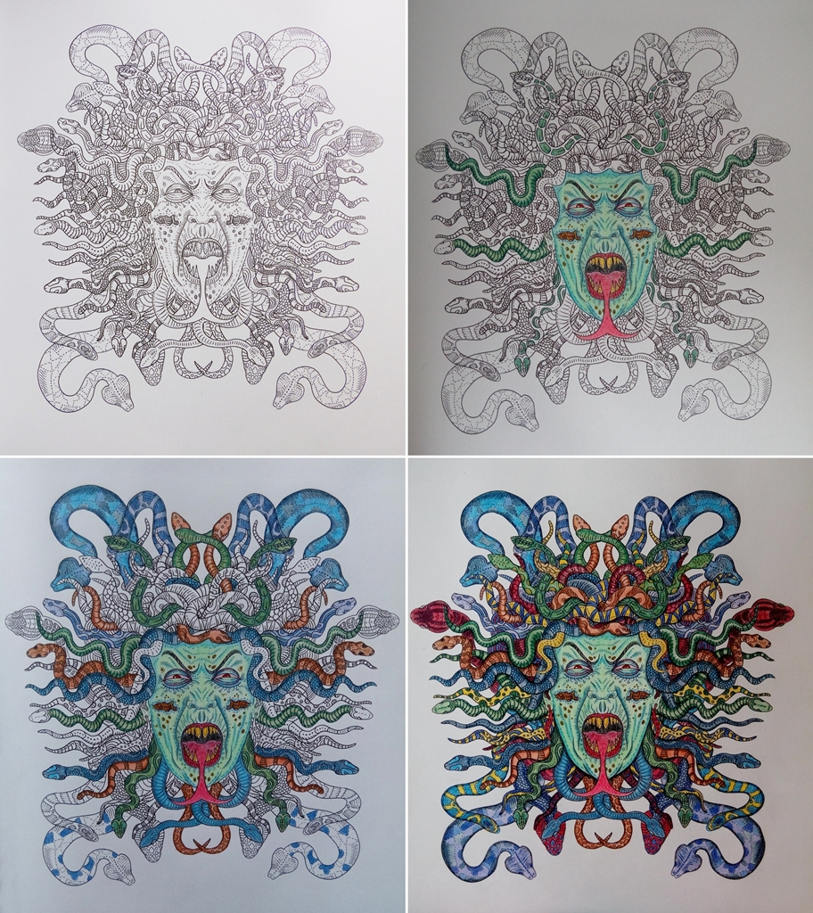 Coloring Books Fun The Beauty Of Horror Coloring Medusa Gorgon