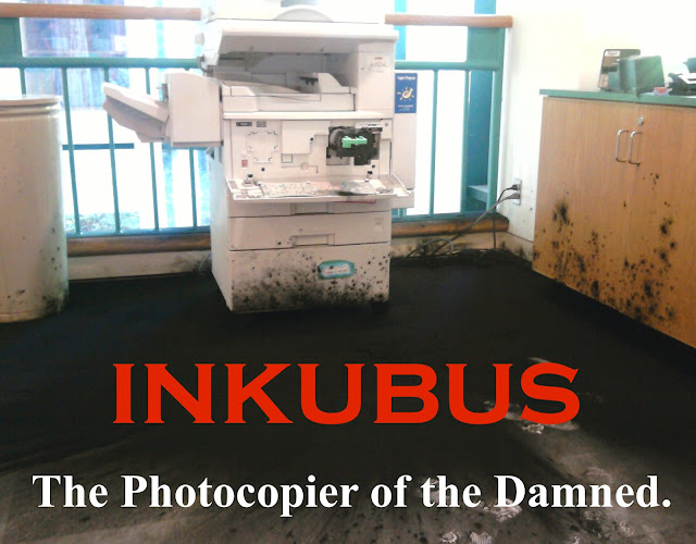 Inkubus. The Photocopier of the Damned. Office photo of a Photocopier toner explosion. Prosecuting Satan. marchmatron.com