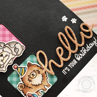 Sunny Studio Stamps: Hello Word Die Party Pups Window Trio Birthday Card by Lexa Levana
