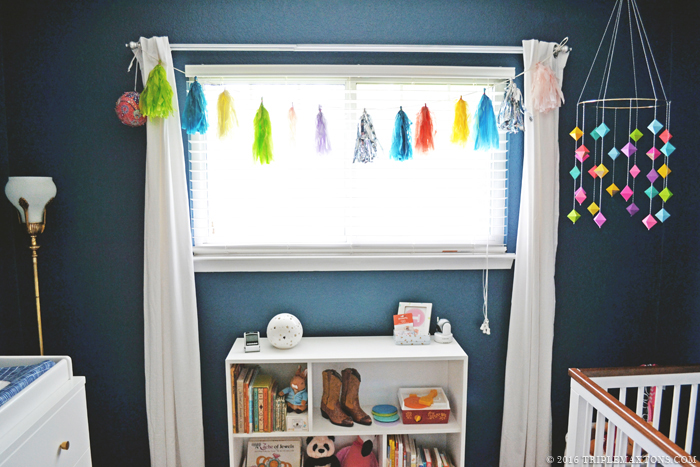 DIY Modern Geometric Rainbow Gem Baby Mobile via Triple Max Tons