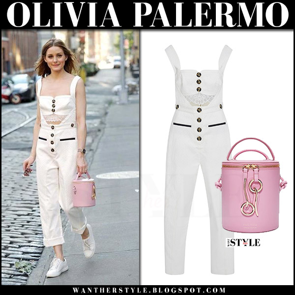 Olivia Palermo in white button lace cutout jumpsuit with pink Meli Melo Severine bag august 2017 what she wore