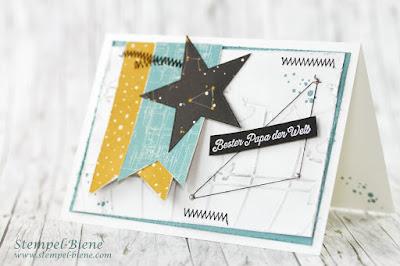 Vatertagskarte; Stampinup Meine Welt; Prägeform Weltkarte; Stampinup Scrapbookkarte; Stempel-Biene
