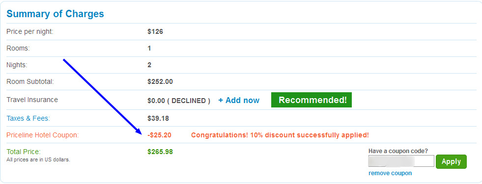 Priceline coupon code express deal