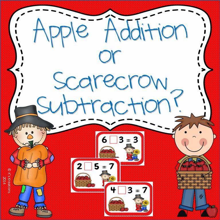 http://www.teacherspayteachers.com/Product/Apple-Addition-or-Scarecrow-Subtraction-Freebie-1471383