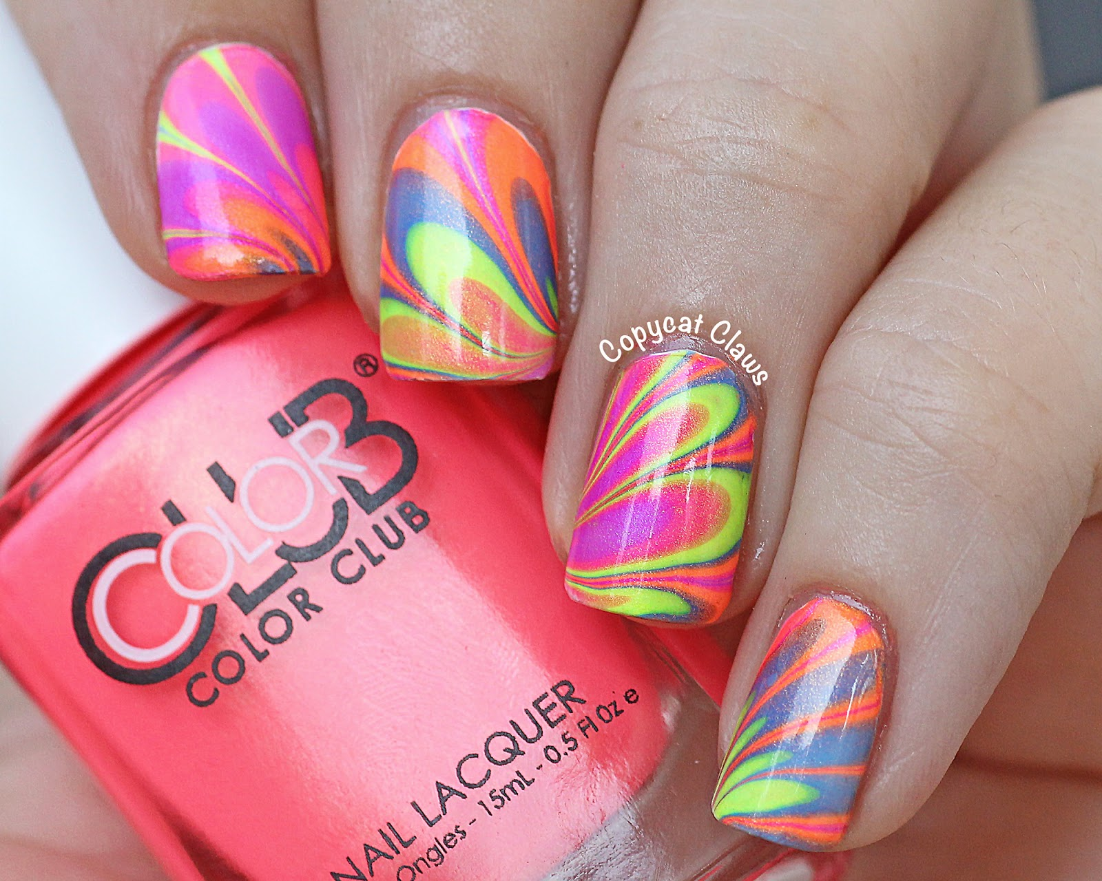Water Nail Art: Copycat Claws: Color Club Poptastic Neon Water Marble Nail Art