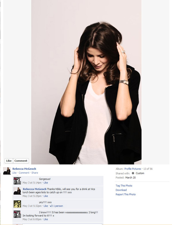 Facebook screenshot, Rebecca McGeoch, Public Relations commercial Portrait for RM Cashmere