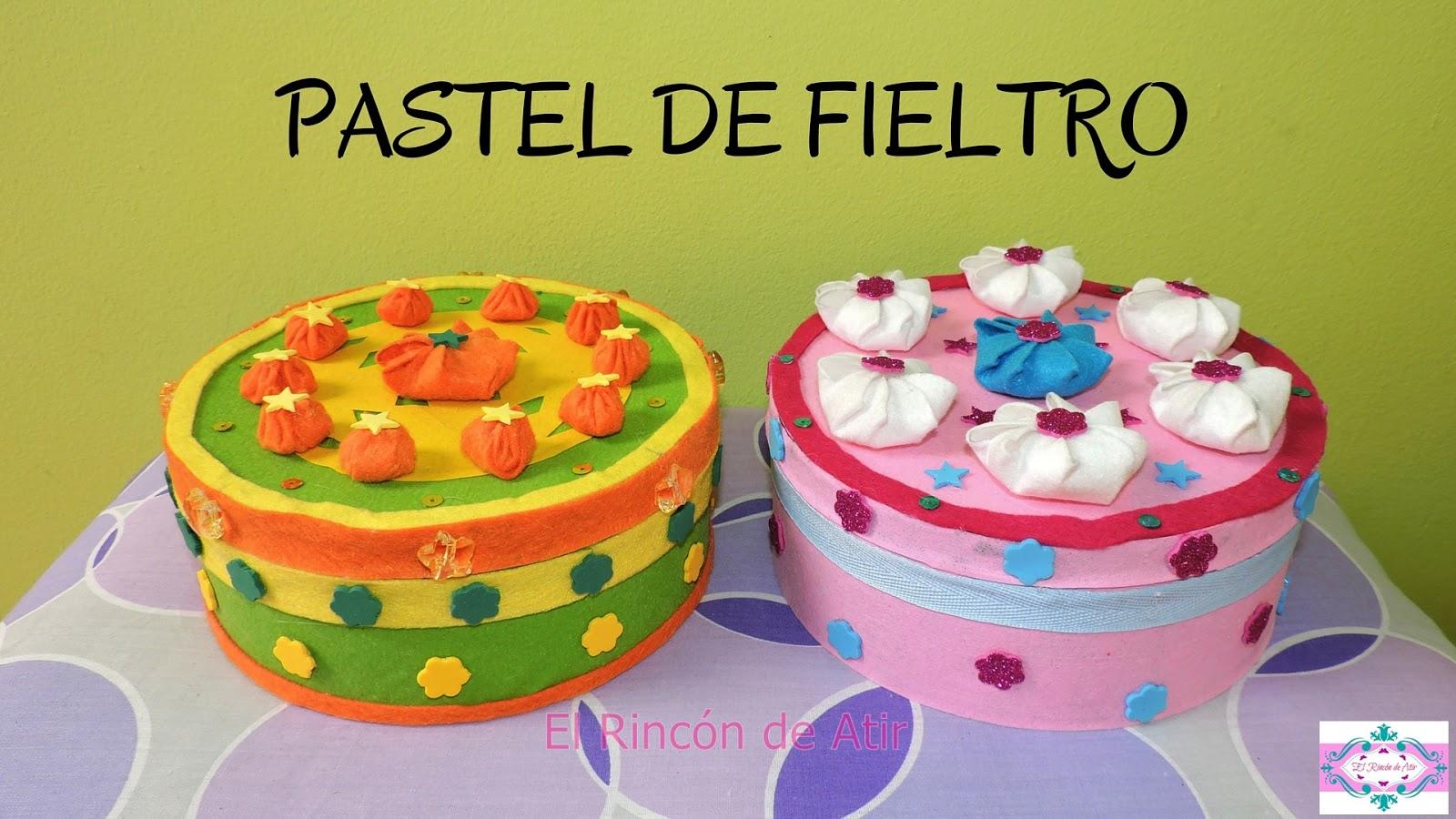 El Rincón de Atir: Pastel de fieltro con caja de galletas