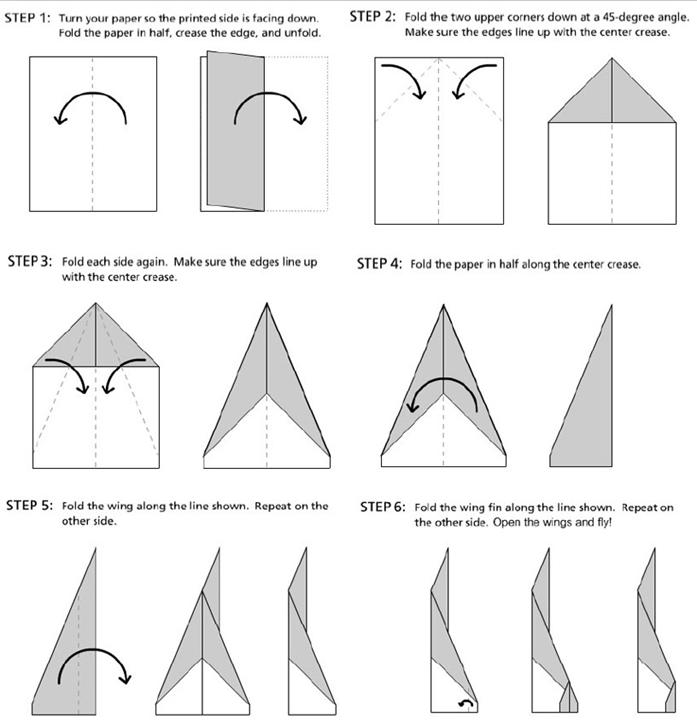 Dart paper airplanes.