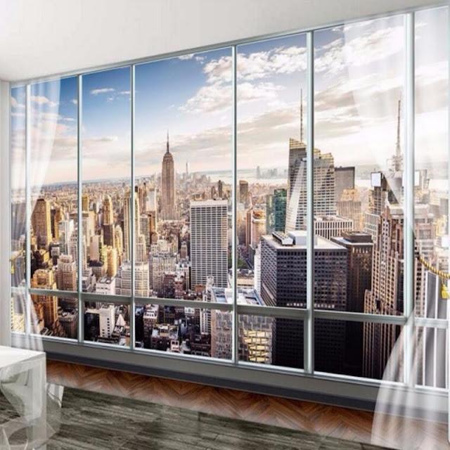 New York Wall Mural Window Skyline Manhattan Wallpaper