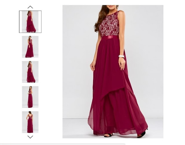 Lace Panel Chiffon Formal Bridesmaid Prom Dress - Wine Red
