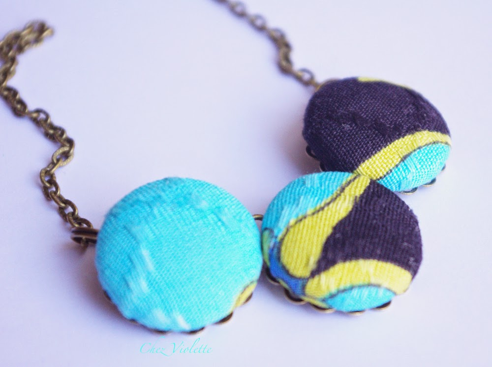 collier en tissu vintage turquoise jaune noir - Vintage fabric necklace turquoise yellow black abstract