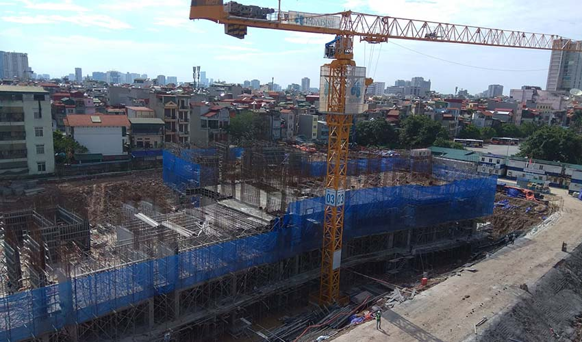 Tiến độ thi công dự án chung cư 423 Minh Khai tháng 9/2017