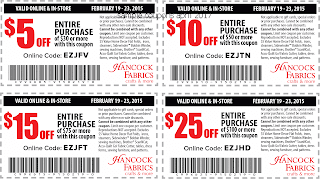 free Hancock Fabrics coupons april 2017
