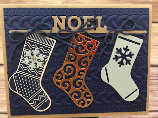 This Christmas card uses Stampin' Up!'s Hand Your Stocking stamp set and Christmas Stockings Thinlits Dies (bundled together for a discount!).  It also uses the new Cable Knit Dynamic Textured Impressions Embossing Folder, Night of Navy Solid Baker's Twine, and the Copper Foil paper.  #stamptherapist #stampinup  www.stampwithjennifer.blogspot.com