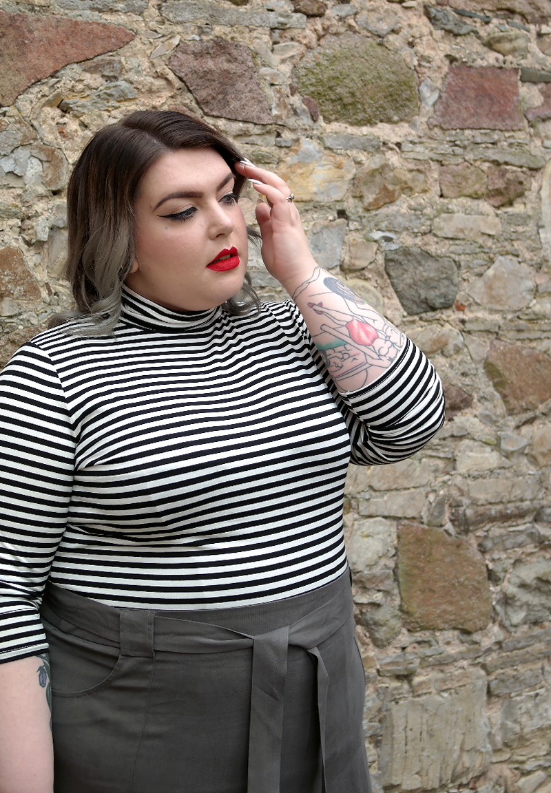 UK Plus Size Fashion Blogger Outfit Post Stripey Top Pencil Skirt