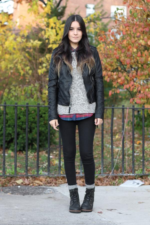 Jessica Lemos jess jesslemos abercrombie & fitch #afstlist leather tatum jacket flannel sweater skinny jeans logger boots skechers laramie 2 ombre wavy hair
