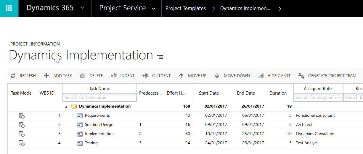 Project Service Automation - Project Templates - Microsoft ...